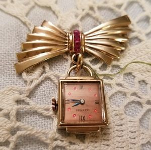 Art Deco Ruby Crawford 12k Rose Gold Lapel Watch